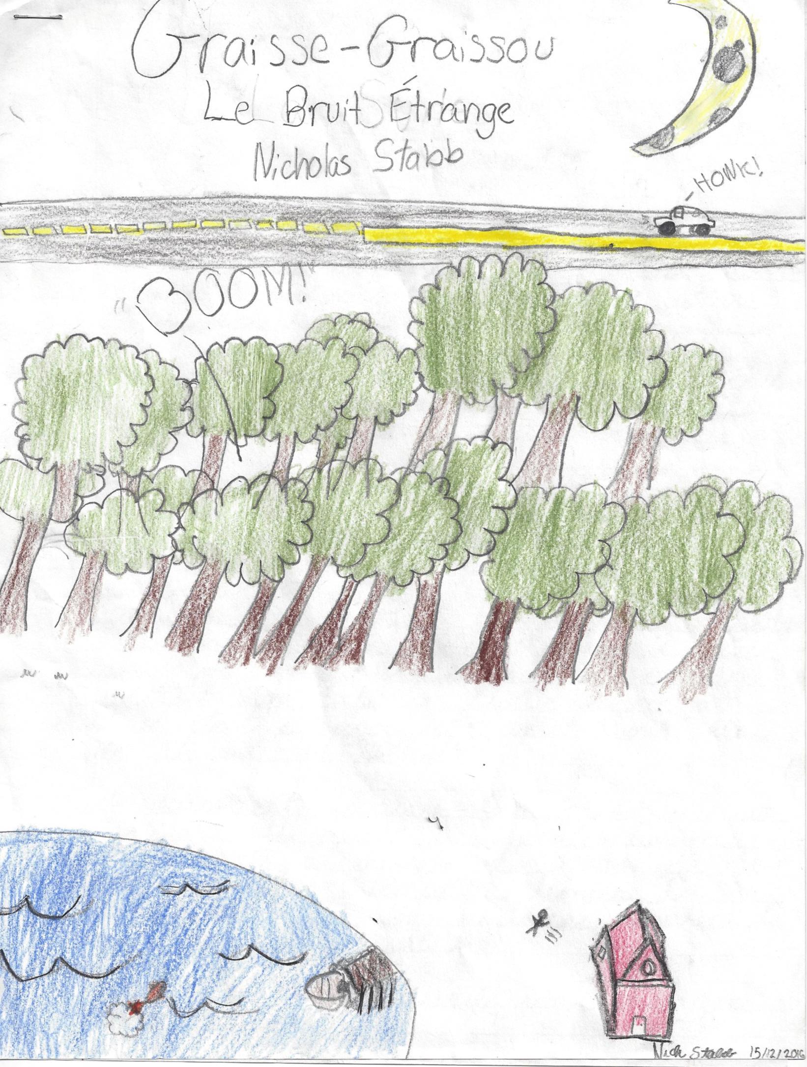 BRUIT ÉTRANGE, histoire de Nicolas Stabb -  Graisse-Graissou part à la recherche d'un bruit étrange dans la nuit.