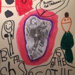 Agathe a dessiné un maison hantée rouge et des enfants à l'Halloween.