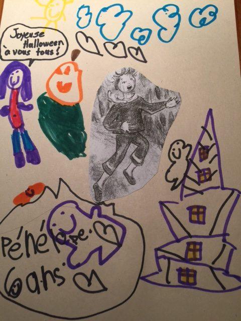 Pénélope a dessiné une maison hantée, une citrouille, des fantômes, une chauve-souris et elle-même.